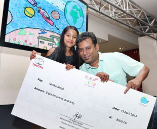 2014 under 8 category winner and international contestant, Nireka Singh with her dad