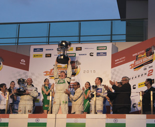 Stuart Oliver from Team Castrol Vecton shows his excitement at his victory.