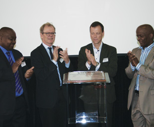 Unveiling the plant are, from left: Sisanda Mtwazi, director at Department of Trade and Industry; Anders Hagelberg, Swedish Ambassador in South Africa, Christer Svärd, senior vice president Volvo Group Logistics Services; and Mondli Gungubele executive mayor of Ekurhuleni.