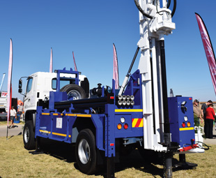 The highlight of Hino's stand at Nampo was a Hino 500 1322 4x4, which was equipped with a drill supplied by Thor Drilling.