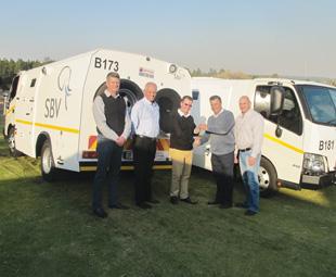From left: Malcolm Glennie, head of fleet management at SBV; Ernie Trautmann, vice president Hino South Africa; Mark Barrett, managing director SBV; Julian Visagie, dealer principal at Hino West Rand; Fanie Pretorius, head of logistics SBV.