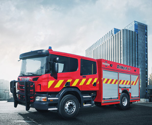The Scania connection is clearly visible in the new Oshkosh XP Fire Apparatus.