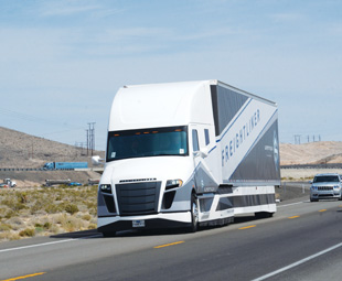 """The Freightliner Supertruck can go twice as far on a litre of diesel as most """"regular"""" trucks."""
