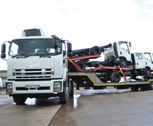 The N-Series transporter can carry any four N-Series trucks within all regulations.