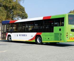 Green buses drive the city