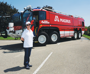 Charleen Clarke and the sensational fire truck