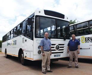 Frans Rossel [left] and Thys de Beer with the 'ace-in-the-hole' VW 17.210 commuter bus.