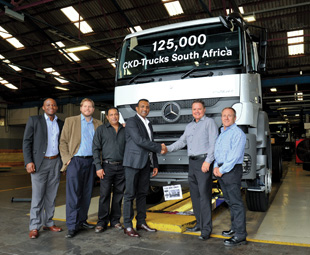 MBSA and Aqua Transport celebrate truck 125 000 as it reaches the end of the production line.