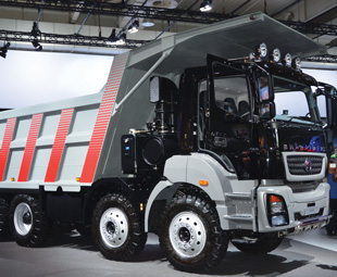 "The BharatBenz 3143 has been nicknamed ""Thunder Bolt"" to celebrate its powerful engine."