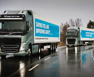 Volvo's convoy on the European Truck Platooning Challenge.