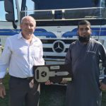 Kobus van Zyl, executive director Daimler Trucks and Buses Southern Africa (left), and Abdul Tayob, chief executive of Bakers, celebrate the 101-truck deal.