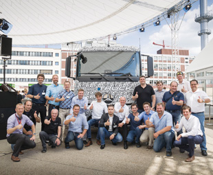 ubilation at the launch of the Urban eTruck, which is based on a heavy-duty, three-axle, short-radius Mercedes-Benz distribution truck.