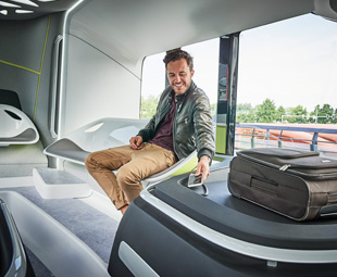 Future transport. incorporating smart technology, is here already. In Amsterdam, the Mercedes-Benz Future Bus drives iteself and offers passengers a fully connected ride.