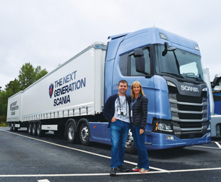 Charleen Clarke and Ahmet Oguz, Truck of the Year jury member for Turkey, prepare to test the truck in Sweden.