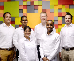 Left to right: Reash Supkaran, Rishan Moodley, Kasturi Naicker, Martin Dammann, Sphe Khuzwayo, Olav Töllner.