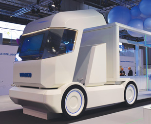 Wabco's futuristic stand. The company launched a new electronic braking system.