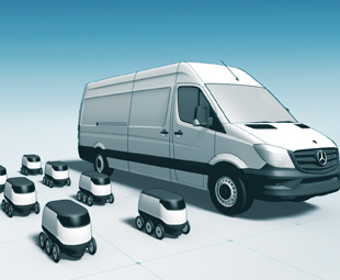 Two options for future package delivery are the use of drones (opposite) or robots (right). Both operate autonomously and use the van as their base.