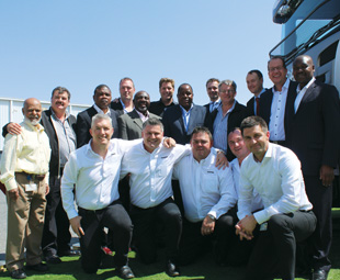 Management from Scania and Ngulula Bulk Carriers celebrate a new relationship.
