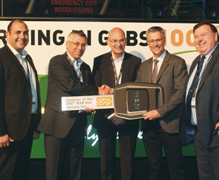 Handing over the 1 000th MAN bus are, from left: Philip Kalil-Zackey (head of bus sales, MAN Truck & Bus SA), Markus Geyer (MD, MAN Truck & Bus SA) and Jerone Lagarde (MAN senior VP for international markets). Francois Meyer (CEO of Gabs), accepts the key, flanked by Donald Grant (Western Cape MEC of transport and public works).