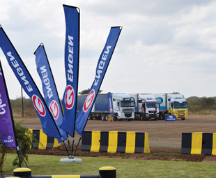 Vehicles arrive at the Engen Lebombo One Stop during Truck Test 2015.