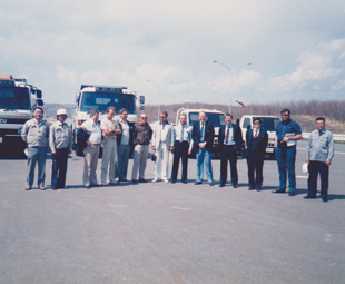 The SA press group at Isuzu's Hokkaido testing facility.