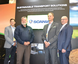 Carel van der Merwe, trainee key accounts manager of alternative fuels; Mark Templeton, key accounts manager of alternative fuels; Jonas Strömberg, sustainability director, and Urban Löfvenberg, sustainable solutions product manager of buses and coaches.