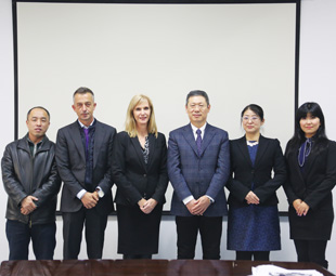 Pictured at FAW's head office, from left, are: Yu Zhanbo (Commercial Vehicle magazine); Vassilis Daramouskas (Troxoi & TIR magazine, Greece); Charleen Clarke (FOCUS); Hu Hanjie, president of FAW Jiefang; Yu Jing and Shao Zitong (both from Commercial Vehicle magazine).