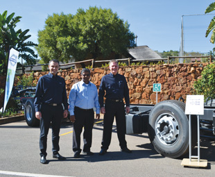 From left: Volvo's Carlos Álvaro, Vinesh Rambaran and Marius Botha with the new Volvo B8R chassis.