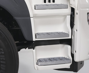 Access to the cab is improved with a new step layout.