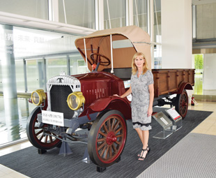 Charleen Clarke checks out the Model TGE-A truck, which was produced in 1917.