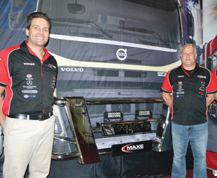 From left: Werner Holtzhausen, Henry Du Toit and Clayton Wait show off a Maxe bull bar.