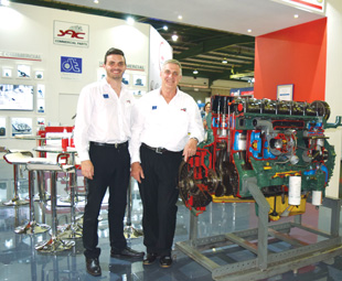 Tiaan van Wyk (SAC graphic designer) and Andre Walters (marketing manager) show off the exhibit.