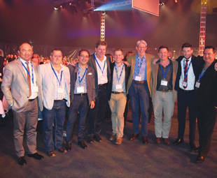 Celebrating the company's anniversary are (from left): Sakkie Liebenberg, Lieben Logistics; Cobus van Rhyn, Frost Logistics; Justin Wolf, GRW Germany; Gerhard van der Merwe, GRW; Dwain Butler, GRW; Gavin Wilson, Unitrans; Florian Hesse, Schmitz Cargobull; Martin van Wyk, GRW.