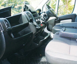 The spacious cab offers a variety of storage spaces.