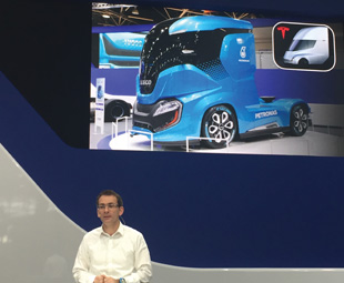 """Pierre Lahutte, Iveco brand president, was clearly unsupportive of Tesla's new electric truck, pointing out that the Iveco Z Truck has """"a better design, the same aerodynamics, superior TCO and triple the range""""."""